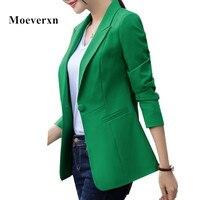 Fashion blazer vrouwen werkkleding herfst lange mouw-knop notched kraag plus size groen roze wit zwart kleur blaser vrouwelijke