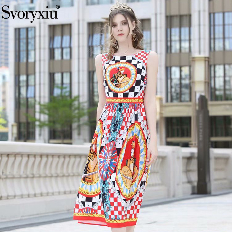 Svoryxiu 2019 Fashion Runway Summer Tank Dress Women s luxury Beading Diamond Warrior lattice Print Sexy