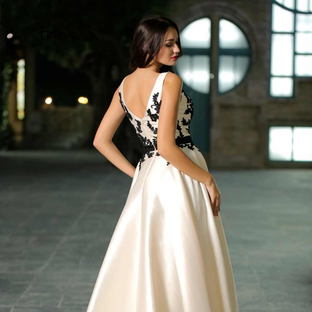 70b0ac084e Finove Elegant Beige Color Prom Dress 2018 New Arrivals Simple Appliques  Sexy V-Neck A-Line Court Train Prom Party Gowns