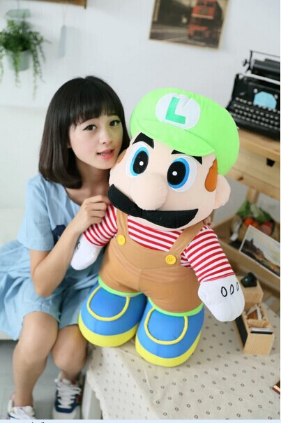 Lovely Plush Toy Super Mario Younger Brother Green Luiji Doll Birthday Gift About 75cm