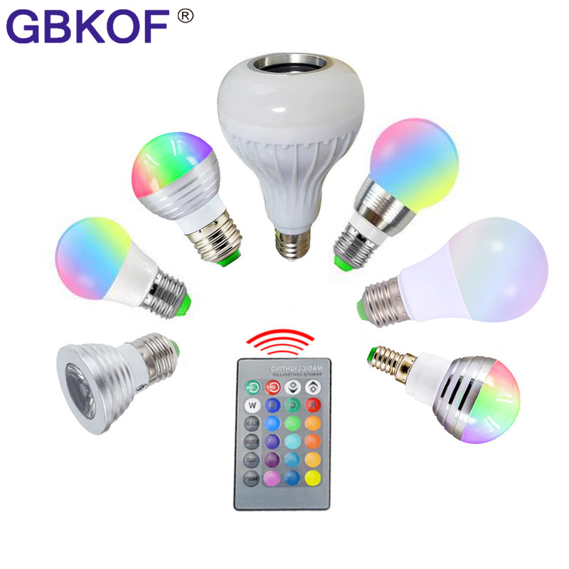 3W 5W 7W 10W rgb bulb E27 E14 GU10 LED Bulb Light Stage Lamp 16 Color with Remote Control Led Light for Home AC85-265V rgb lamp high qulity 5w 7w 9w e27 rgb led bulb 16 color change rgb lamp spot light 85 265v remote control ampolleta led rgb with memory