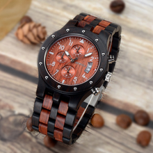 Wood Quartz Wrist Watch Men Sport Waterproof Watch Man Chronograph Clock