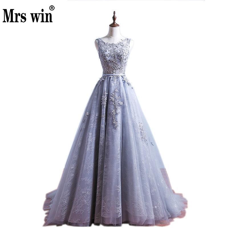 Sexy A Line O Neck Appliques Grey   Evening     Dress   Real Photos Long Floor Length Tulle   Evening   Gowns Party Prom   Dress