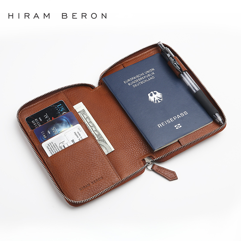 Passport Holder Business Large Capacity RFID Blocking Zipper Genuine Wallet For Men ID Card Holder Custom Name Label Dropship