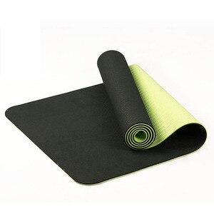 Image 1 - Estera de Yoga antideslizante de dos colores Tpe de 6Mm, estera deportiva de 183x61Cm, estera insípida para gimnasio en casa