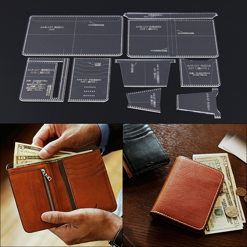 Acrylic Stencil 1Set Leather Template Home Handwork Leathercraft Sewing Pattern Tools Accessory Men Wallet Pattern 10*13.5*1.5cm