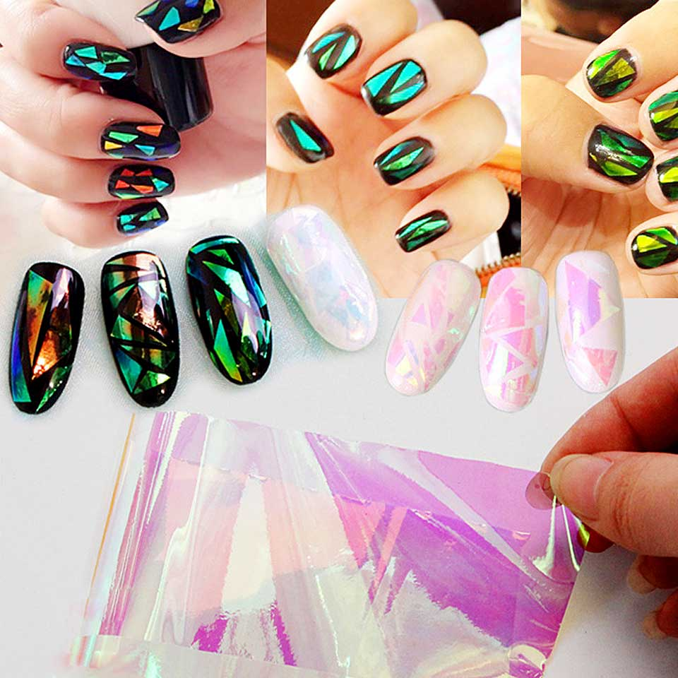 Holographic Nail Foil Transfer Foil for Nails Broken Glass ...