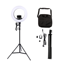 18 5500K Dimmable LED Adjustable Ring Light 480 led Camera Macro for Makeup & Beauty Photography/Video Black
