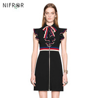 Summer Runway Dresses Women 2018 High Quality Black Brief Dress Lotus Leaf Edge Patchwork Hit Color