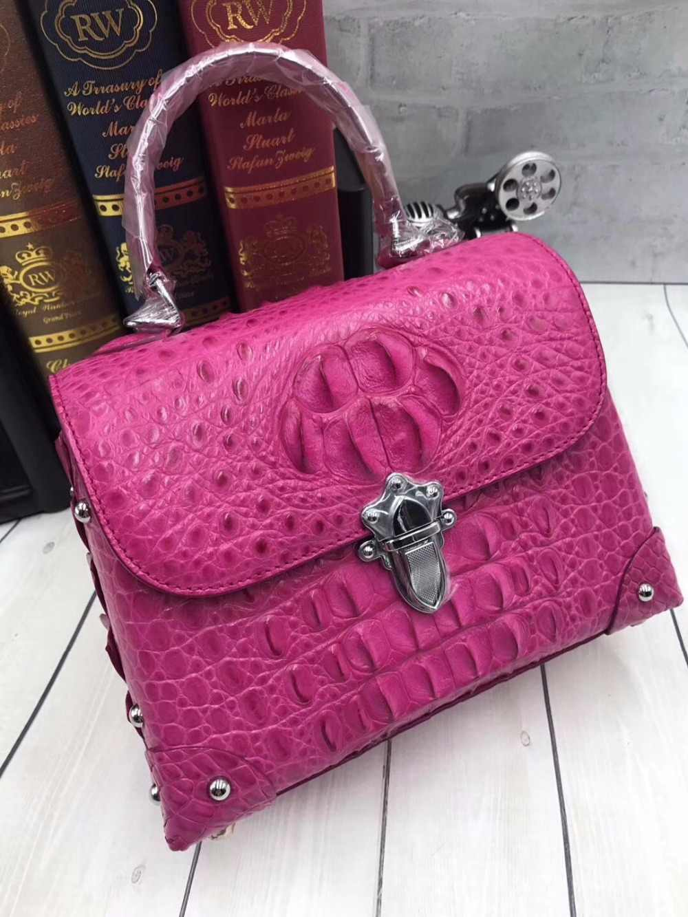 ccefbf44f6 Fashion Luxury Designer Genuine Exotic Crocodile Skin Leather Female Small  Purse Hand Bag Ladies Hot Pink