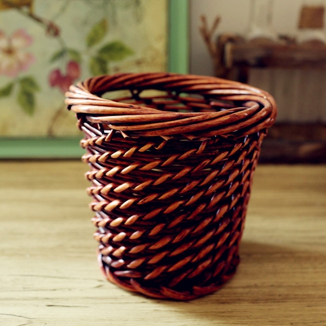 hand weaved wicker artificial flower pot vase decorative crafts tabletop flower receptacle basket container home - Decorative Crafts