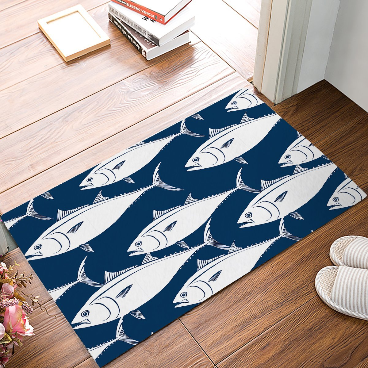 White Kitchen Floor Mats: Navy Blue Background White Fish Door Mats Kitchen Floor