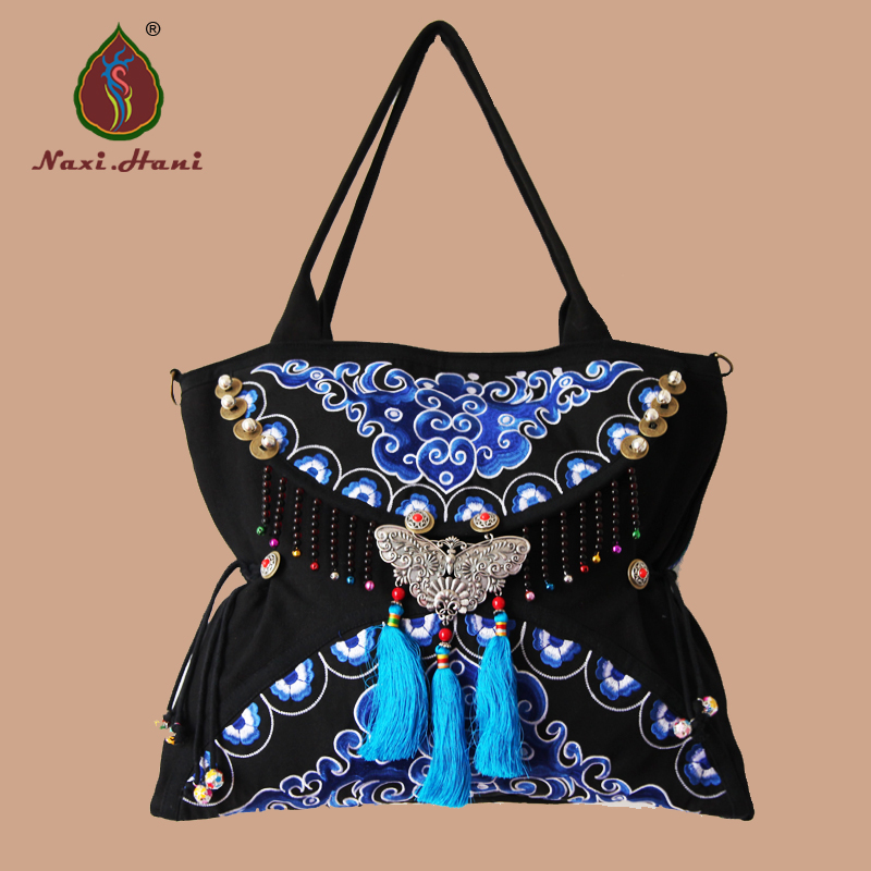 Newest Double faced embroidery women bags Ethnic handmade butterfly tassel lagre shoulder bags brand canvas cross-body bags luxury chinese style women handbag embroidery ethnic summer fashion handmade flowers ladies tote shoulder bags cross body bags
