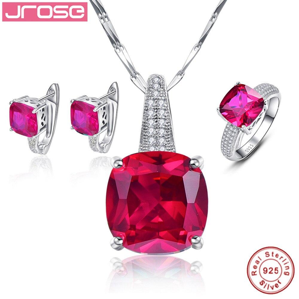 Jrose romantique bijoux de mariage boucles d'oreilles Stud chaîne collier et anneaux bijoux fins 925 en argent Sterling ensembles pour les femmes