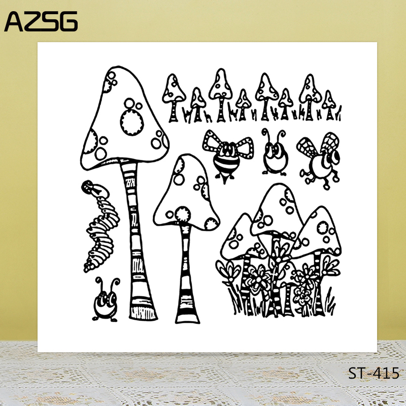 AZSG Bee Ant Mushroom Clear Stamps/Seals For DIY Scrapbooking/Card Making/Album Decorative Silicone Stamp Crafts