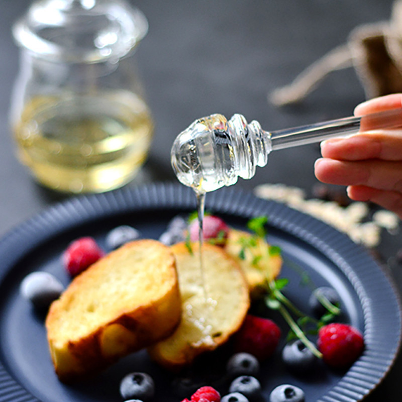 1Pc Glass Honey Spoon 15cm Long Handle Kitchen Gadget Honey Jar Dipper Stick Syrup Dispenser Server  Keuken Accesoires