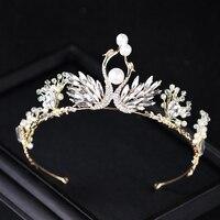 Trendy Pearl Swan Wedding Accessori Per Capelli di Cristallo Dell'oro Tiara Corona Ala Donne Da Sposa Principessa Diadema Monili Dei Capelli del Rhinestone