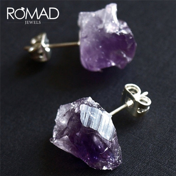 ROMAD 1Pair Fashion Amethysts Clear Crystal Stud Earrings Quartz Natural Raw Stone Earrings Handmade For Women Jewelry R4 earrings