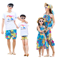 2019 Father Mother Daughter Son Mom Mommy And Clothes Beach Dress T shirts Pants Couple Family Look Wear Family Matching Clothes