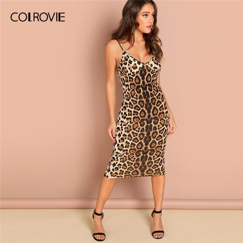 COLROVIE платье с v-образным вырезом и леопардовым принтом, облегающее платье на бретельках для женщин 2019, сексуальная летняя тонкая одежда, жен...
