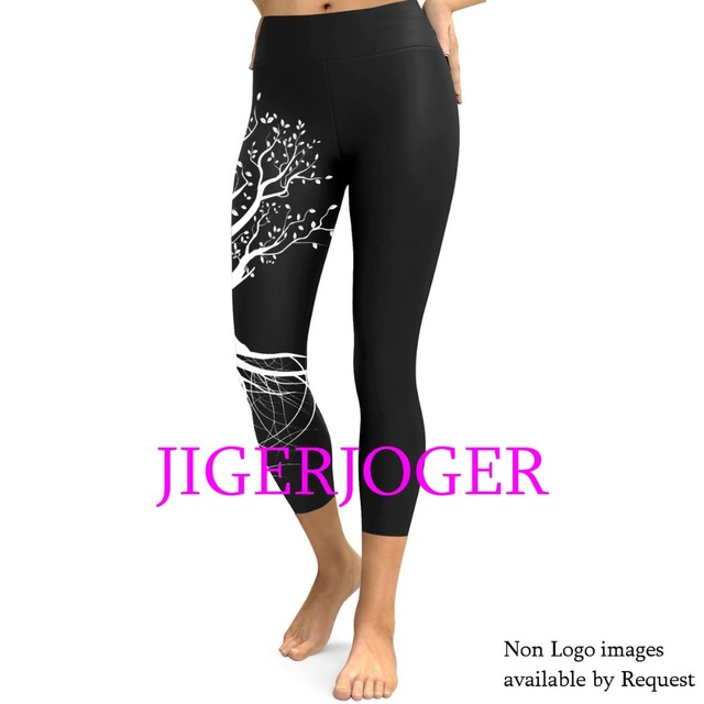 406b032d8e1ca JIGERJOGER 2019 Spring High waistband a pocket Black Tree of life mandala 3/4  Yoga Capris Legging Shorts 7/8 compression tights
