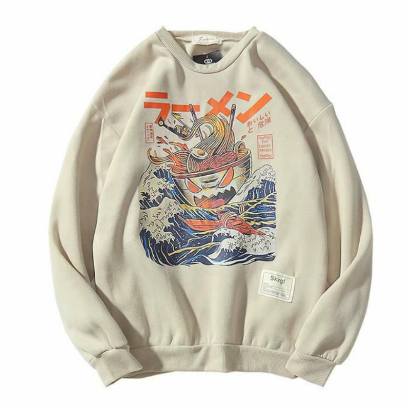 Japanese Funny Noodle Wave Printed Fleece Hoodies Men Harajuku 2019 Spring Japan Style Hip Hop Casual Sweatshirts Streetwear