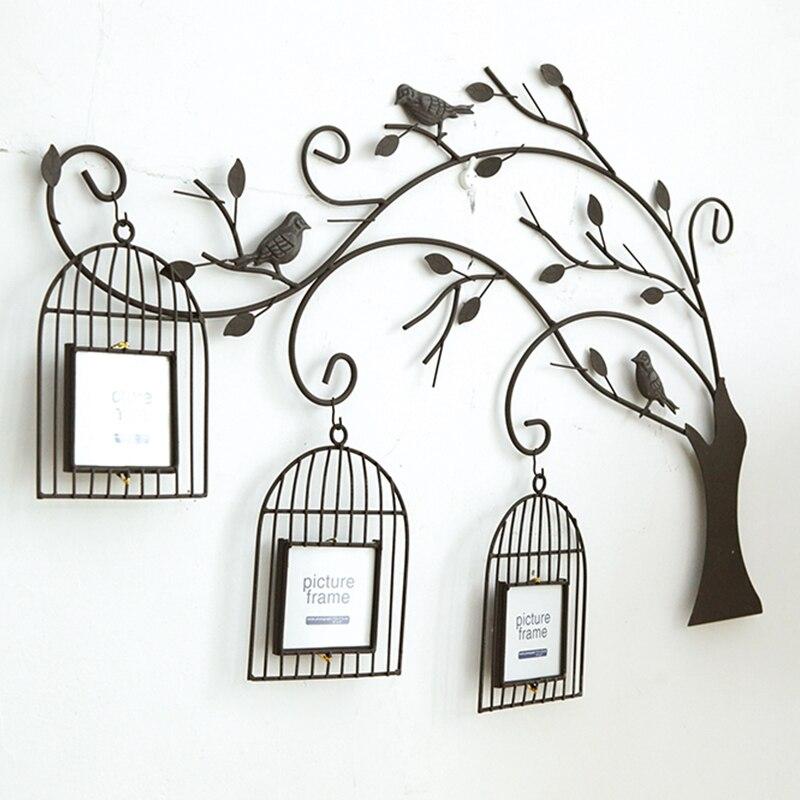 Металлические дерево стиль ручной работы ретро железная птичья клетка на дереве креативные гостиная настенные фотообои комбинация из фоторамок