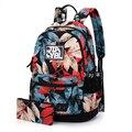 Flor da lona impressão mochila mulheres sacos de escola para adolescentes meninas mulheres mochila mochilas senhoras bolsas mochila feminina