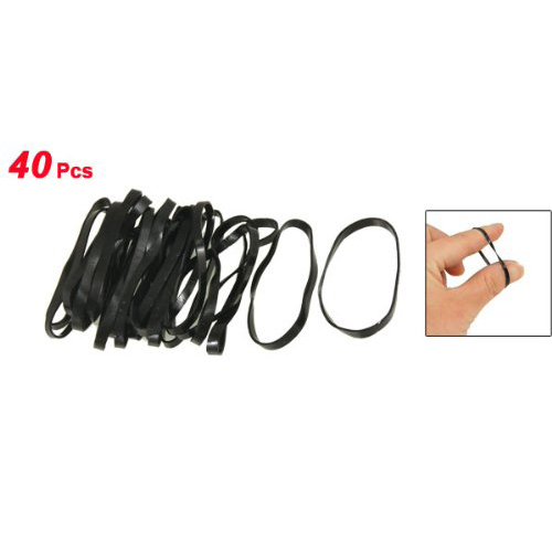 SAF-New 40 Pieces Practical Black Elastic Rubber Band Hair Tie Ponytail Holders 2