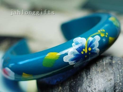 Wholesale Female Charm Wooden Bangle Blue Hand Painted w/ Chinese Traditional Painting Gift Mixed Color 16pcs/lot Free Shipping