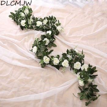 Artificielle Rose Fleur Faux Suspendus Décoratifs Roses Vigne Plantes  Feuilles Artificielles Guirlande Fleurs Mariage Décoration Murale