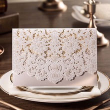 FENGRISE 1 Set Wedding Invitation Card Gold Red White Laser Cut Luxury Flora Cards Decoration Event Party Supplies
