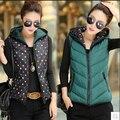 2015 nueva moda de invierno chaleco mujeres diseñador de la marca Colete Feminino chaleco ocasional encapuchada Outwear chaleco h639