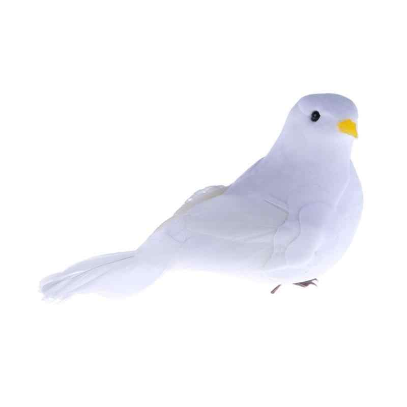 3D White Feather Foam Doves Home Craft Kid Simulation Bird Toy Gifts Decoration
