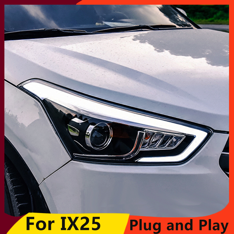 KOWELL Car Styling for Hyundai IX25 Headlights 2015 2017 Creta LED Headlight DRL Daytime Running Light