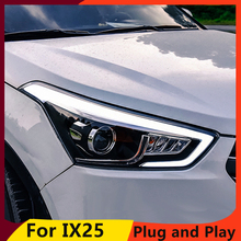 KOWELL تصفيف السيارة لشركة هيونداي IX25 المصابيح الأمامية 2015 2017 Creta LED المصباح ضوء الجري النهاري دي أر إل ثنائية زينون HID الملحقات