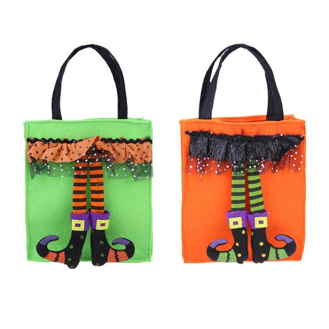 8169b6a1d0 Halloween Pumpkin Non-woven Straw String Candy Storage Bag Funny Storage Bag  for Kids Collect Candy Halloween Supplies