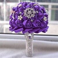 Gelin Buketi Yapay Çiçekler Nedime Bouqutes El Yapımı Rhinestone Ayıklaması Evlilik Buque De Flores Bouquet De Noiva