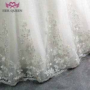 Image 5 - Bordado vintage uma linha de renda vestido de casamento boné manga v pescoço lantejoulas pérolas frisado plus size mariage vestido de casamento wx0109