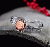 Новая мода полые резные коралловые розы браслет для леди, чисто ручной работы прекрасно Серебряные ювелирные изделия оптовая продажа Беспл