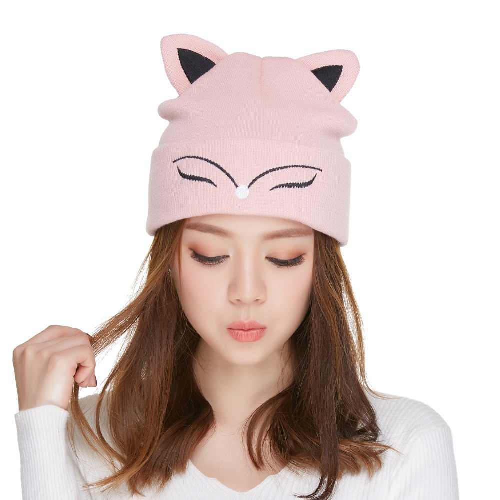 13a88a0a905 ... Kajeer Women s Hat Knitted Wool Winter Warm Beanie Pink Cute Fox Ears  Skulls Knit Hat Caps ...