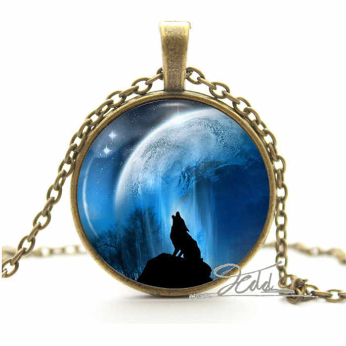 Arctic White Wolf Necklace - Silver Fantasy Jewelry - Polar Pendant Animal Gifts Photo Glass Cabochon Dome Necklace Pendant
