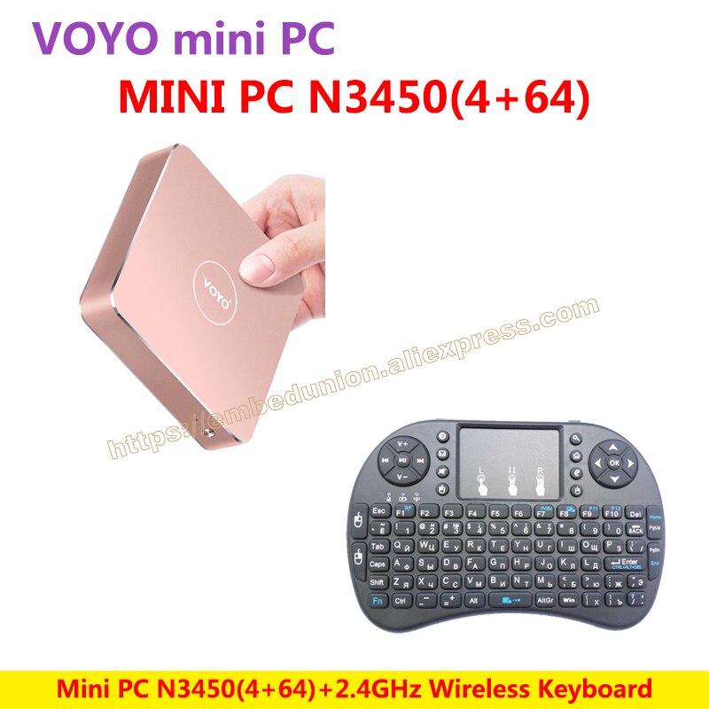 VOYO VMac Mini PC V1 Windows 10 Pocket PC (4GB RAM+64GB SSD) Intel Lake Apollo N3450+Wireless Keyboard=N3450 KIT-E-A настольный компьютер voyo 4 64