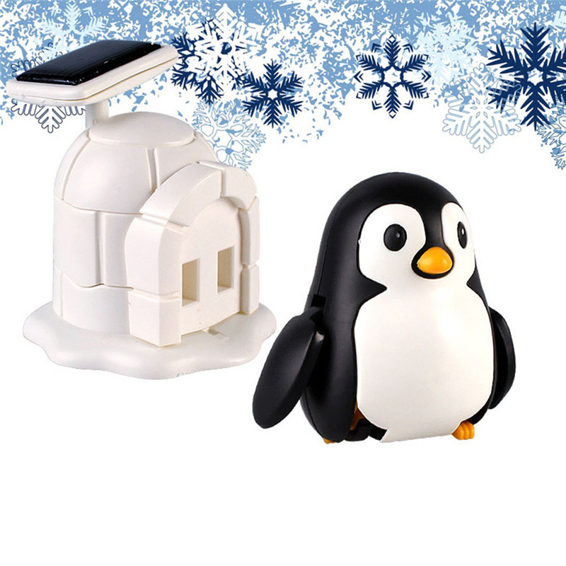 Solar Powered Shaking Toy Cute Penguins Household Car