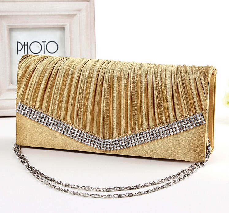 Women Satin Clutch Bag Rhinestone Evening Purse Ladies Day Clutch Chain Handbag Bridal Wedding Party Bag Bolsa Mujer 2018 XA1080 10