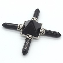 Trendy-beads Silver Plated Square Pyramid With 4 Hexagon Column Energy Transmitter Black Obsidian Pendant shiny eyeglass brass chain spectacle retainer electro plated with silver embedded with black acrylic beads