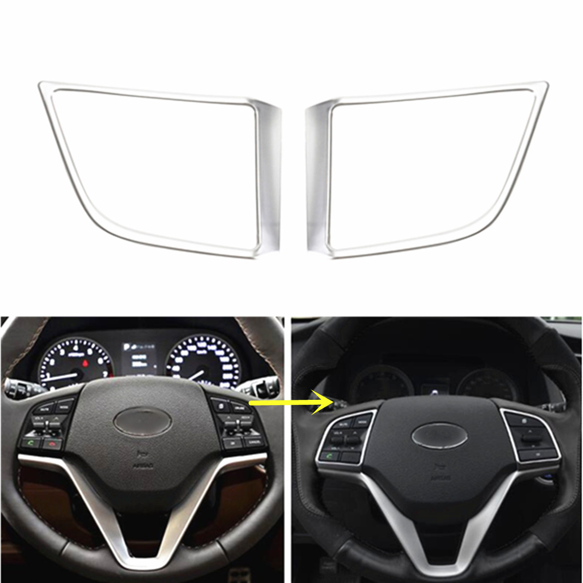2pcs car chrome silver steering wheel insert trim cover for hyundai tucson 2017 interior. Black Bedroom Furniture Sets. Home Design Ideas