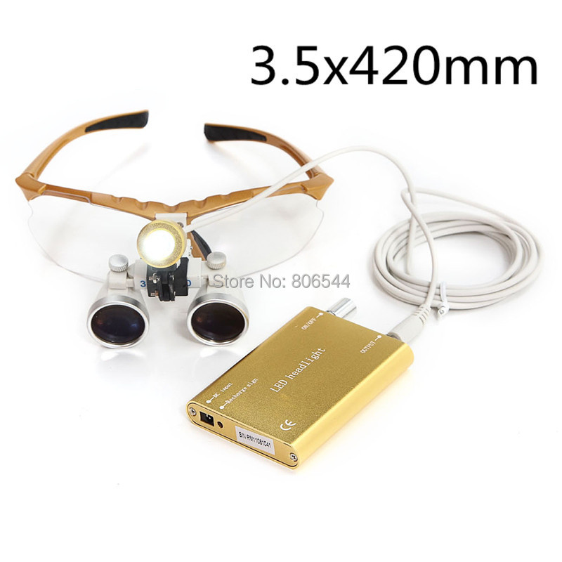 2015 Hot selling yellow Dentist Dental Surgical Medical Binocular Loupes Optical Glass Loupe + Portable Red LED Head Light Lamp red free shipping new 2 5x420 magnifier dentist dental surgical binocular loupes optical and portable led head light lamp 2015 a
