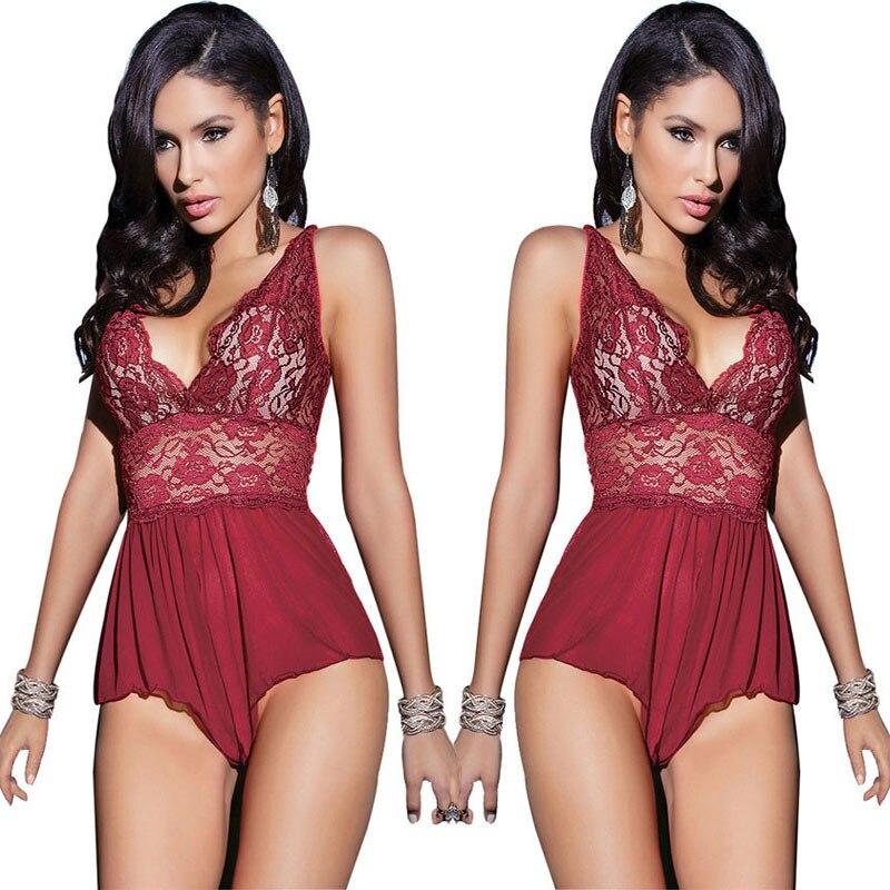 Women Bodysuits Deep V Neck Backless Lingerie Lace Halter Babydoll Dress Sexy Erotic Lingerie Plug Size