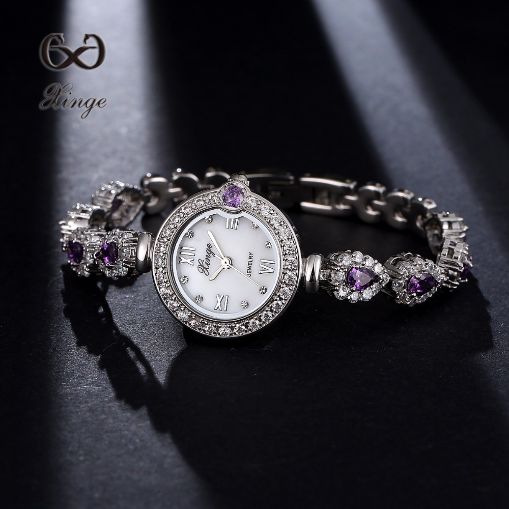 Xinge Brand Luxury Dress Watch Women Zircon Diamond Gold Jewelry Bracelet 30m Waterproof Ladies Wrist Watches XG1041 xinge brand watch women bracelet rhinestone chain bangles jewelry watch set wristwatch waterproof ladies gold quartz watch